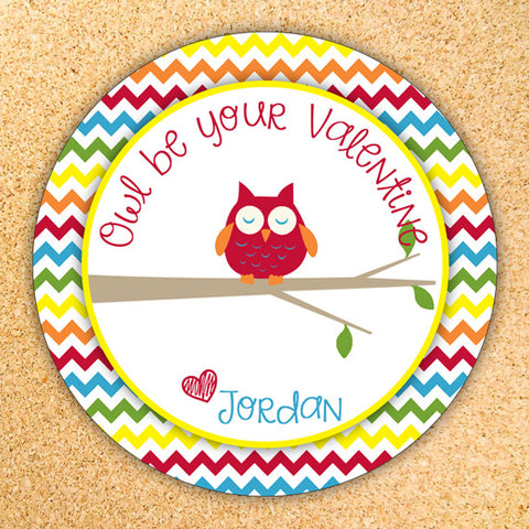 Owl Be Your Valentine - Valentine's Day Gift Tag Label - Customizable - Printable