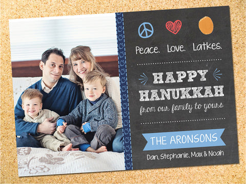 Peace, Love, Latkes Photo Hanukkah Card - Customizable - Printable