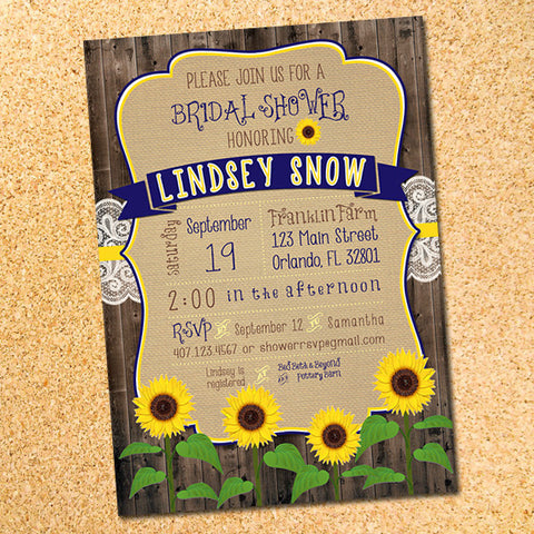 Rustic Sunflowers Bridal Shower Invitation - Customizable - Printable
