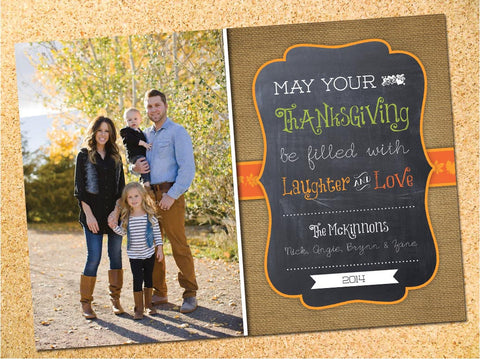 Rustic Burlap & Chalkboard Thanksgiving Photo Card - Customizable - Printable