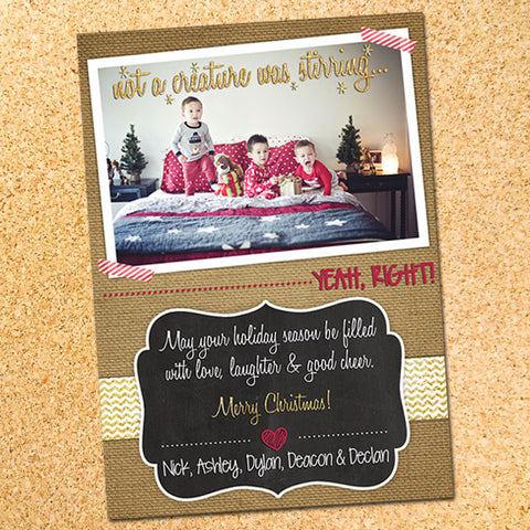Not A Creature Was Stirring Photo Christmas Card - Customizable - Printable