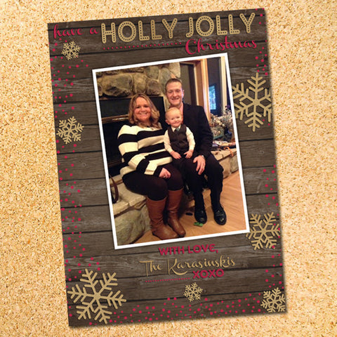 Rustic Wood & Snowflakes Photo Christmas Card - Customizable - Printable