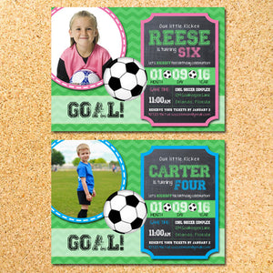 Soccer Birthday Party Invitation Any Color Made To Match Your Team Customizable Printable