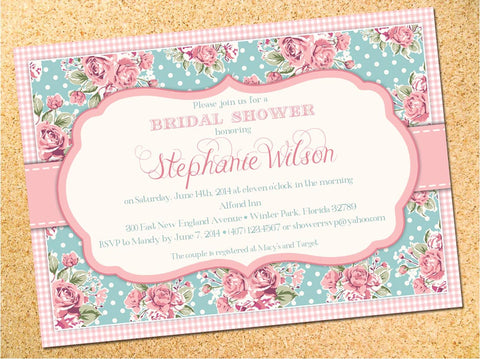 Shabby Chic Floral Bridal Shower or Baby Shower Invitation - Customizable - Printable