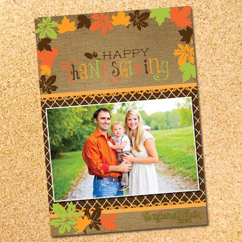 Autumn Leaves Thanksgiving Photo Card - Customizable - Printable