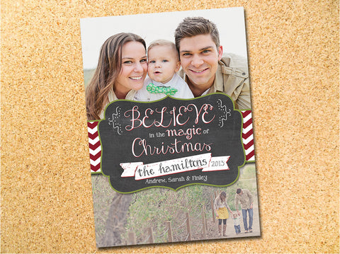 Vintage Chalkboard Photo Christmas Card - Customizable - Printable