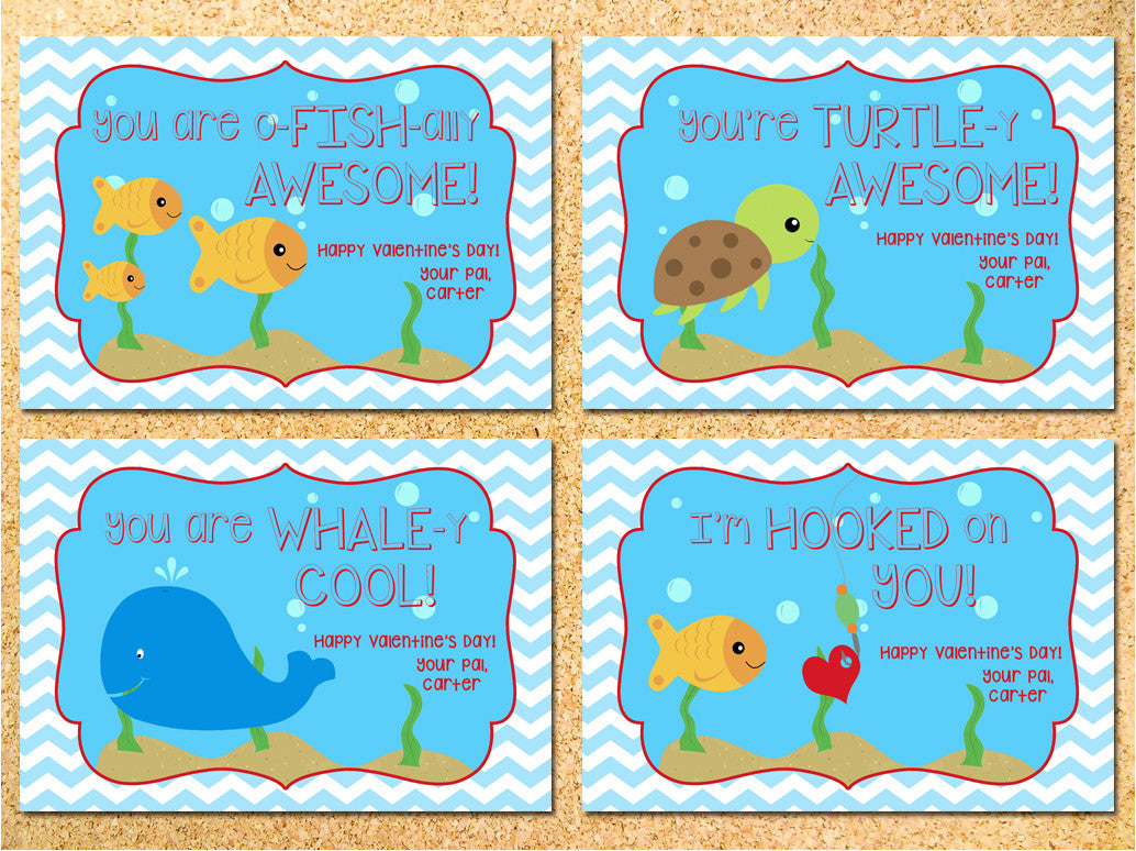 Under the Sea Personalized Fish Valentine's Day Cards - Printable DIY