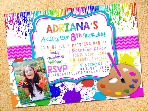 Art Palette Birthday Party Invitation - Customizable - Printable