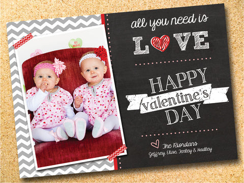 All You Need is Love - Chalkboard & Chevron Valentine's Day Photo Card - Customizable - Printable