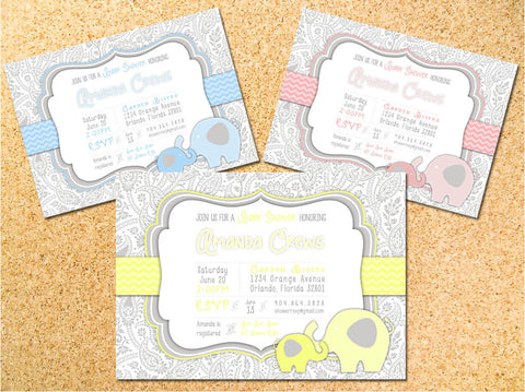 Paisley Elephant Baby Shower Invitation - Customizable - Printable