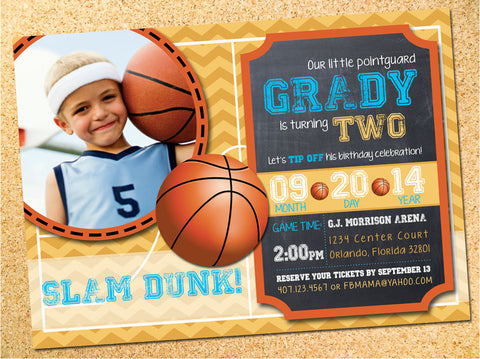 Basketball Chalkboard Birthday Party Invitation - Customizable - Printable