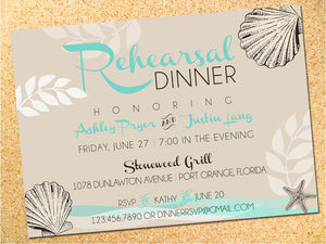 Seashells Beach Rehearsal Dinner Invitation - Save the Date - Wedding Invitation - Customizable - DIY - Printable