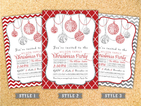Chevron or Lattice Christmas Party Invitation - Customizable - Printable