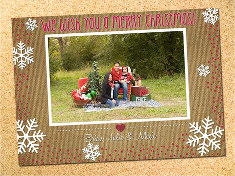 Rustic Burlap & Snowflakes Christmas Photo Card - Customizable - Printable