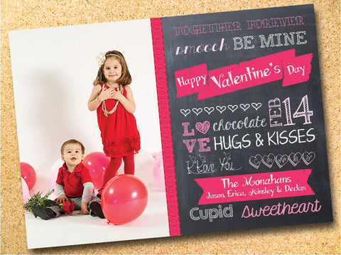 Chalkboard Subway Graphic Typography Valentine's Day Photo Card - Customizable - Printable