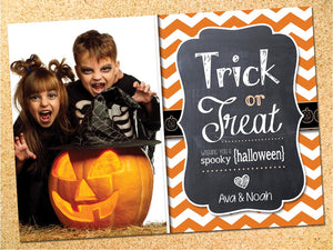 Trick or Treat Halloween Photo Card - Customizable - Printable