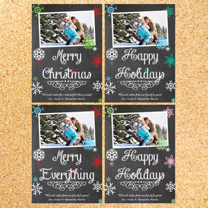 Chalkboard Snowflakes Photo Holiday Card - Customizable - Printable