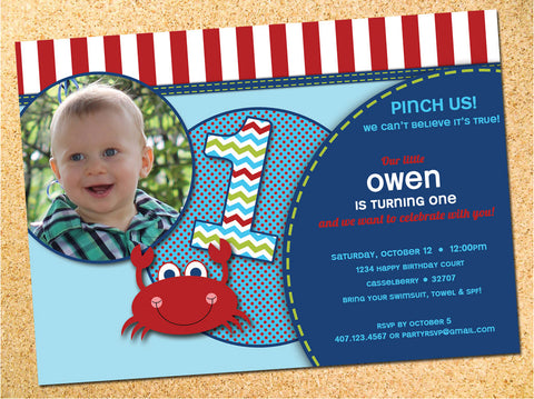 Crab Birthday Party Invitation - Customizable - Printable