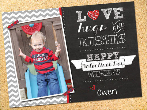Love, Hugs & Kisses - Chalkboard & Chevron Valentine's Day Photo Card - Customizable - Printable