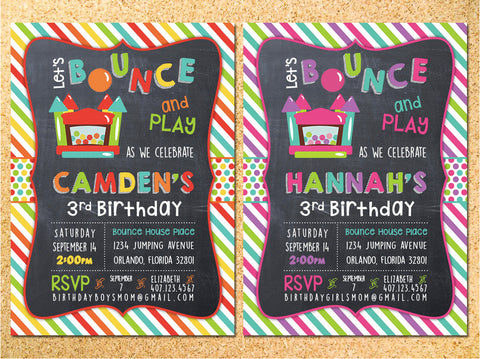 Bounce House Chalkboard Birthday Party Invitation - Customizable - Printable
