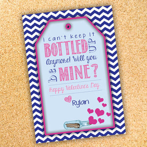 Message In A Bottle Valentine S Day Gift Tag Label Customizable Printable