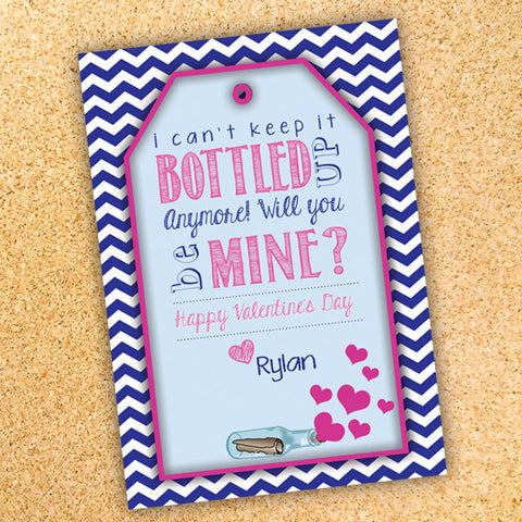 Message in a Bottle - Valentine's Day Gift Tag Label - Customizable - Printable