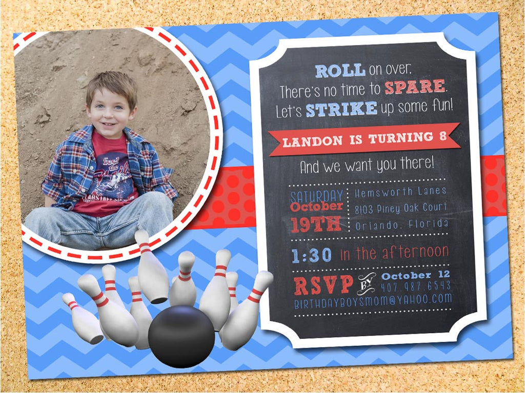 Bowling Chalkboard Birthday Party Invitation - Customizable - Printable