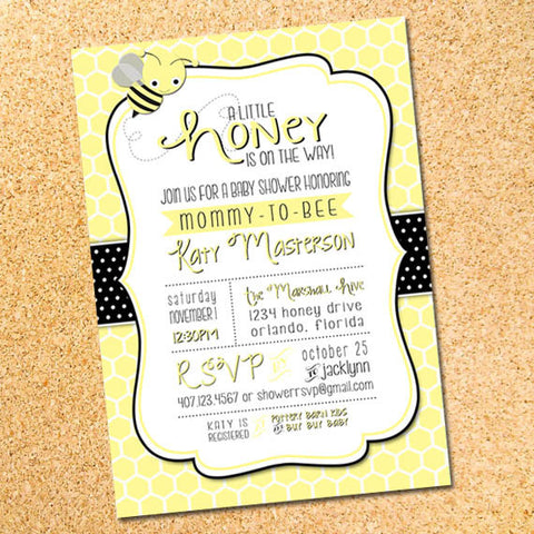 Bee Baby Shower Invitation - Customizable - Printable