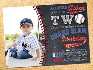 Baseball Chalkboard Birthday Party Invitation - Customizable - Printable