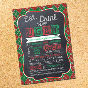 Ugly Sweater Christmas Party Invitation - Customizable - Printable