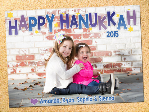 Bouncing Photo Hanukkah Card - Customizable - Printable