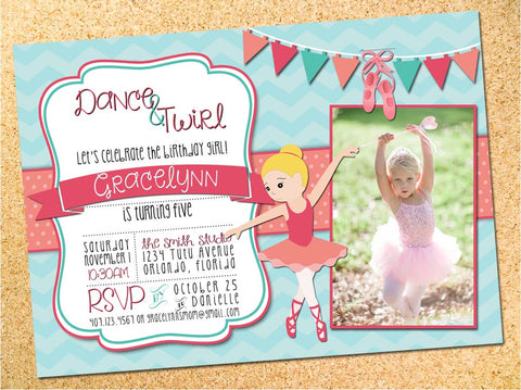 Ballerina Birthday Party Invitation - Customizable - Printable