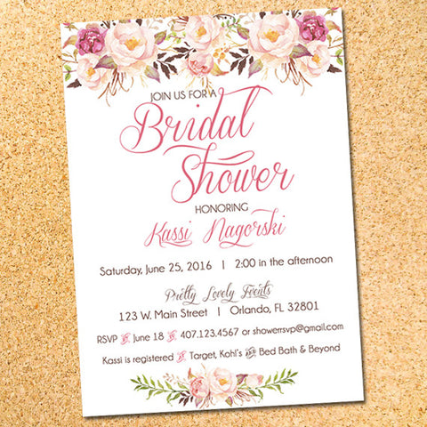 Watercolor Flowers Bridal Shower Invitation - Customizable - Printable