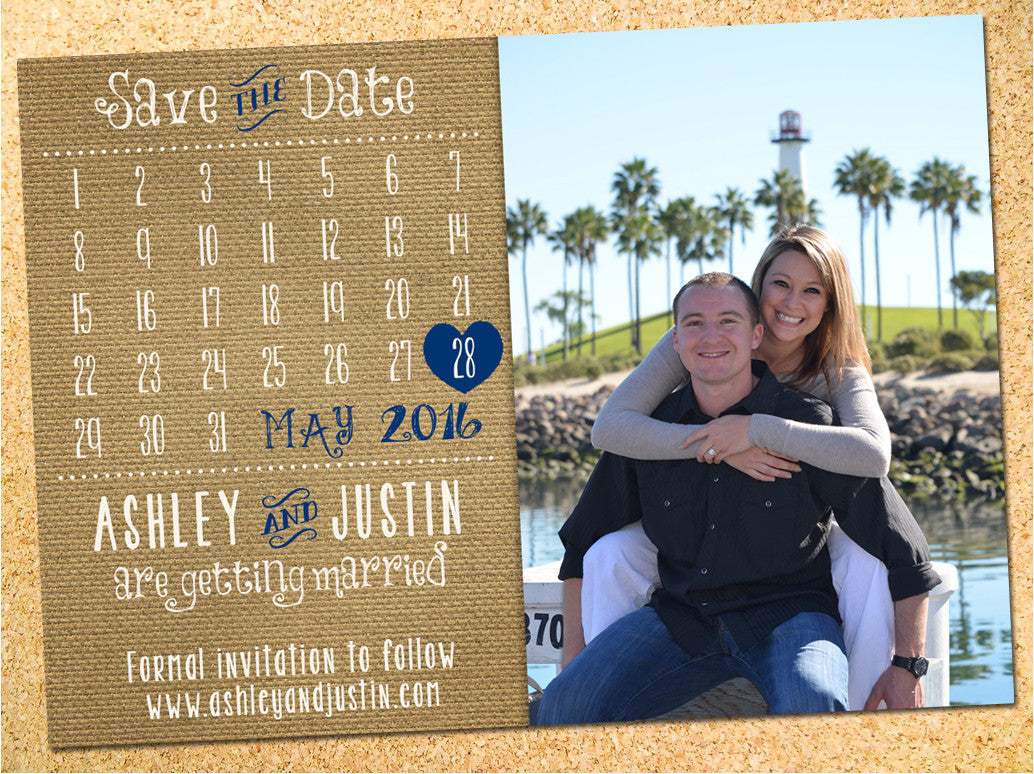 Rustic Burlap Calendar Save the Date - Customizable - DIY - Printable