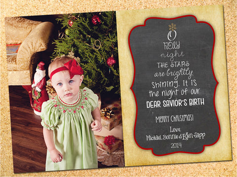 O Holy Night Vintage Photo Christmas Card - Customizable - Printable