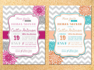 Dahlias Bridal Shower Invitation - Customizable - Printable