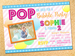 bubbles birthday party invitation customizable printable owen