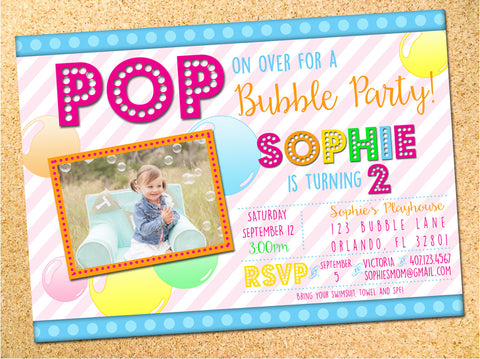 Bubbles Birthday Party Invitation - Customizable - Printable