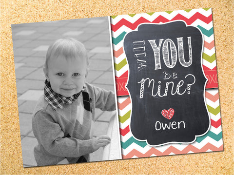 Will You Be Mine? - Chalkboard & Multi Chevron Valentine's Day Photo Card - Customizable - Printable