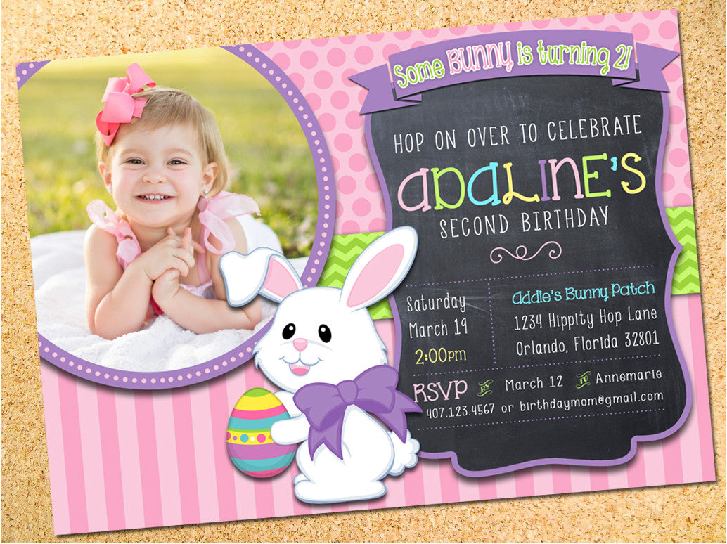 Easter Bunny Birthday Party Invitation - Customizable - Printable