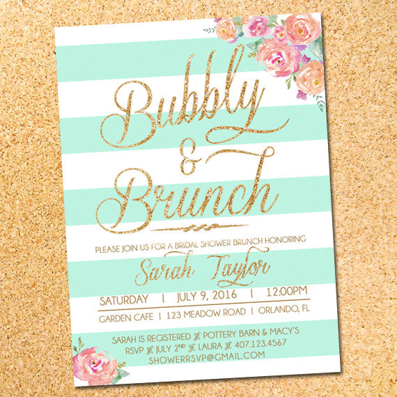 Bubbly & Brunch Stripes and Flowers Bridal Shower Invitation - Customizable - Printable