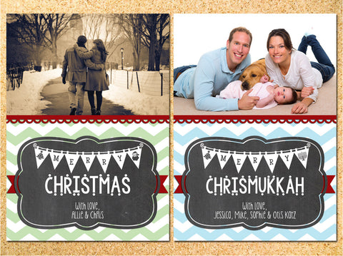 Rustic Chevron & Chalkboard Bunting Photo Holiday Card - Customizable - Printable