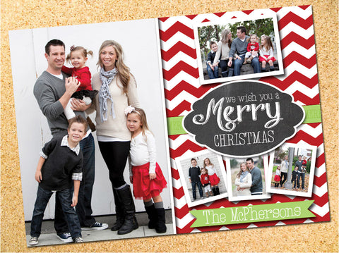 Chevron & Chalkboard Photo Christmas Card - Customizable - Printable