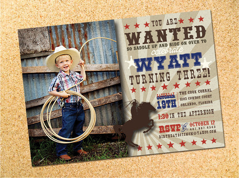 Cowboy Birthday Party Invitation - Customizable - Printable