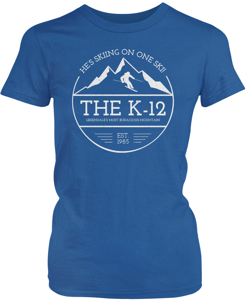 The K-12 - He's Skiing On One Ski Women's T-Shirt
