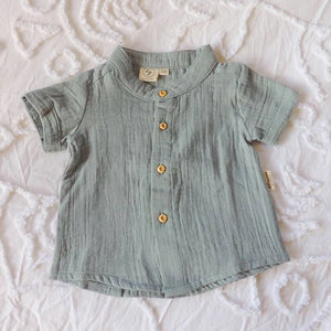 Cotton Muslin Button Up Shirt - Gumleaf