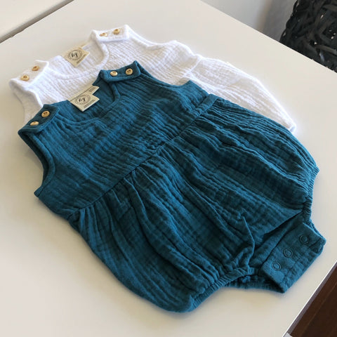 Cotton Muslin Romper - Peacock