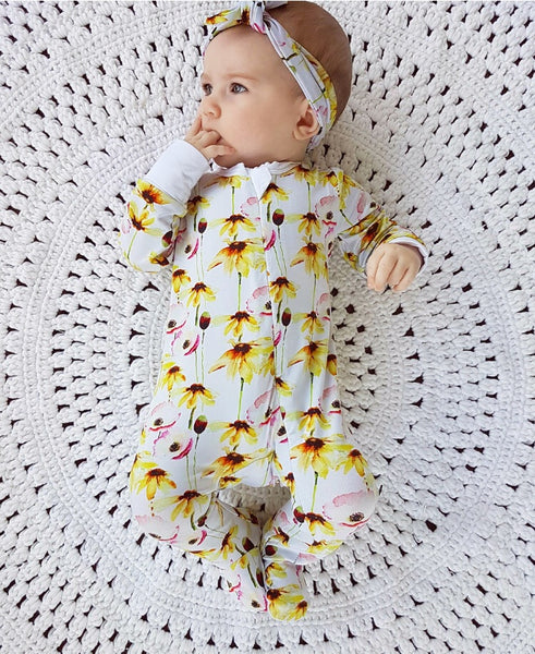 Bamboo - Yellow Flower Coverall Romper