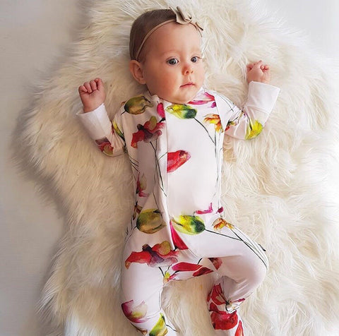 Bamboo - Pink Flower Romper