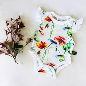 Bamboo - Red Flower Ruffle Bodysuit